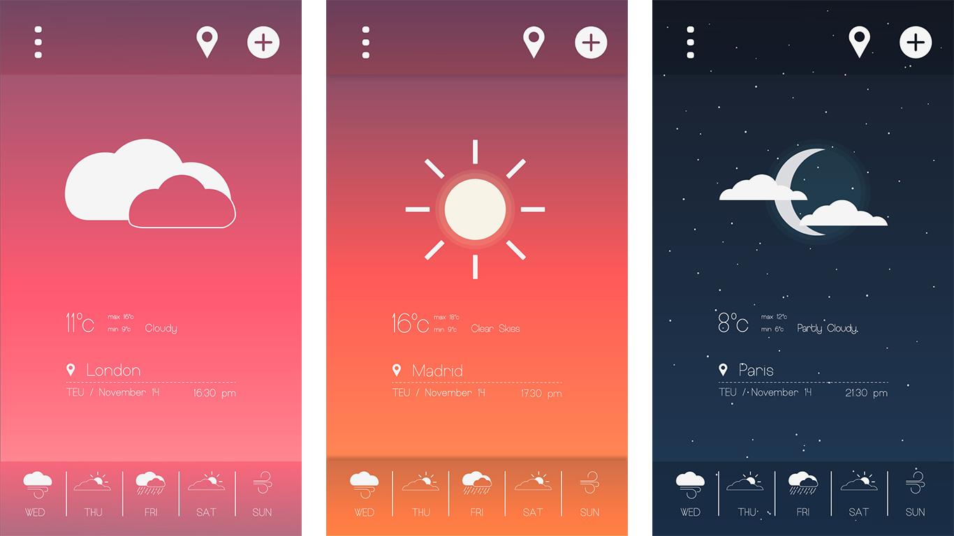 Briefbox — Weather app UI design by Marcos Gonzalez