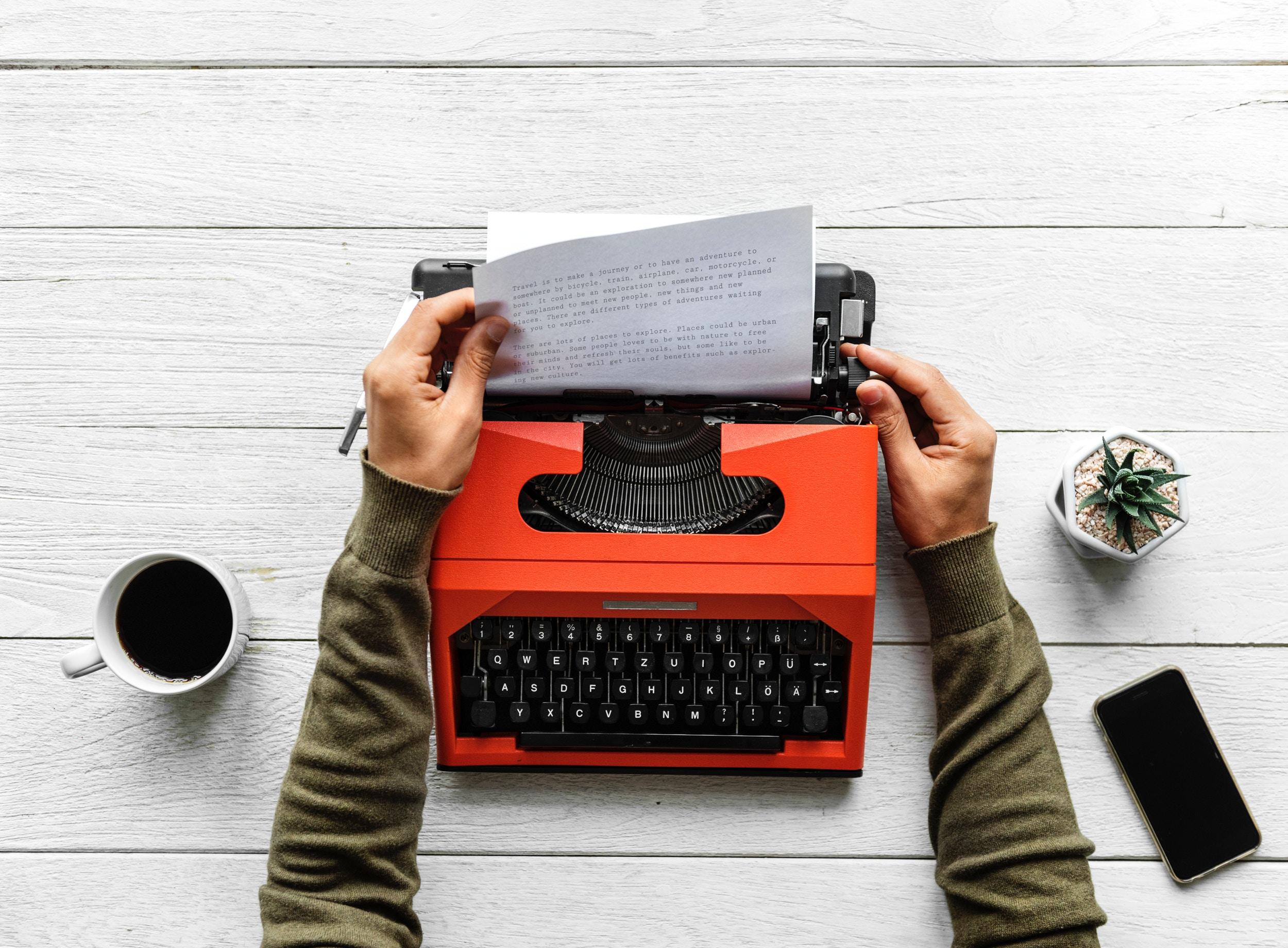 Typewriter photo by rawpixel