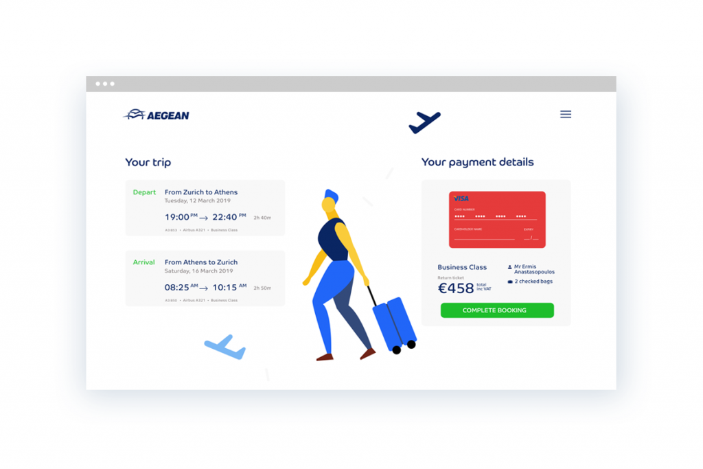 Aegean Air Booking Summary Screen by Ermis