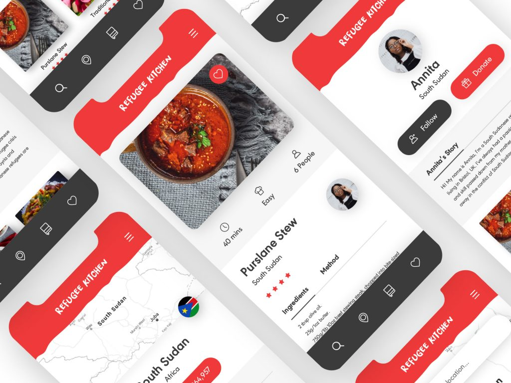 Refugee Kitchen app by Jess Caddick